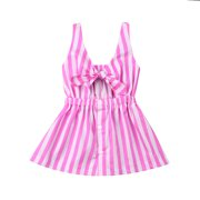 900a95a70bd Mommy and Me Matching Striped Sleveveless Bow Tie Knot Front Mini Dress  Mother Daughter Hollow Sundress