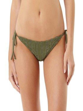 Juniors' Crochet Side Tie Scoop Bikini Bottom