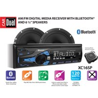 Dual Electronics XC16SP High Resolution LCD Single DIN Car Stereo Receiver with Built-In Bluetooth, USB, MP3 Player & Two 2-Way High Performance 50 Watt 6.5-inch Car Speakers