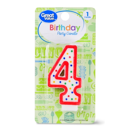 Great Value Birthday Party Candle, Number 4](Number 3 Candle)
