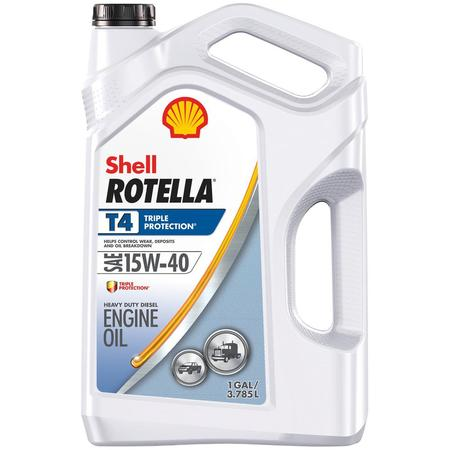 15w40 Motor Oil - (9 Pack) Shell Rotella T4 15W-40 Heavy Duty Diesel Oil, 1-gallon