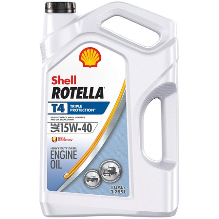 (9 Pack) Shell Rotella T4 15W-40 Heavy Duty Diesel Oil, 1-gallon