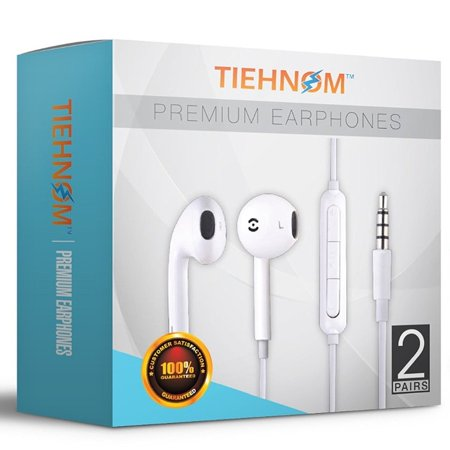 Tiehnom B01M6BSFQN 7077 Premium Earphones, Headphones Earbuds with Microphone and Volume Control for iPhone/iPad/iPod/Android Smartphones/Samsung with 2 Earphone Clips - White - 2 Piece