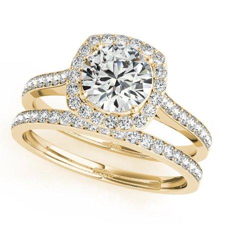 1/2 Ct. Halo Engagement & Wedding Band Set In 14k Solid Rose Gold (1/2ct, I-J Color, I2-I3 Clarity) - Rose Gold Wedding Colors