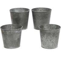 Set of 4 Small Galvanized Buckets