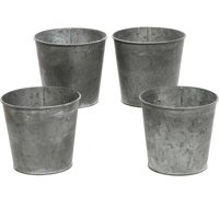 Elegant Expressions by Hosley Set of 4 Small Galvanized Buckets