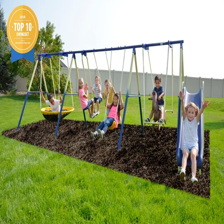 Sportspower Outdoor Super 8 Fun Metal Swing And Slide Set Walmart Com