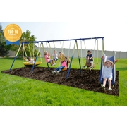 Sportspower Outdoor Super 8 Fun Metal Swing Set with 6ft Heavy Duty Slide, UFO Saucer Swing, and Rocking Horse