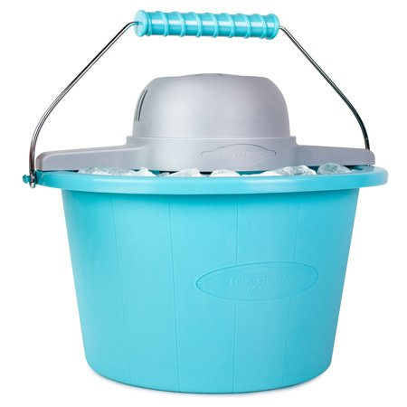 Nostalgia Electrics 4-Quart Blue Bucket Electric Ice Cream Maker, (Best Nostalgia Electrics Ice Cream Machine)