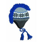 3b121c6d081 Aquarius Boys Gray   Blue Snowflake Print Mohawk Hat Fringe Skull Aviator  Trapper