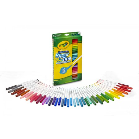 Lapis Markers - Crayola Super Tips Washable Markers, 50 Count
