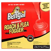 Bengal Concentrated Roach & Flea Fogger, Dry Fog Roach and Flea Household Treatment, 3 x 2.7 Oz. Aerosol Cans