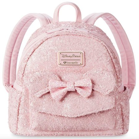 Disney Parks Loungefly Millennial Pink Minnie Mouse Sequin Backpack (Chevron Sequin Backpack)