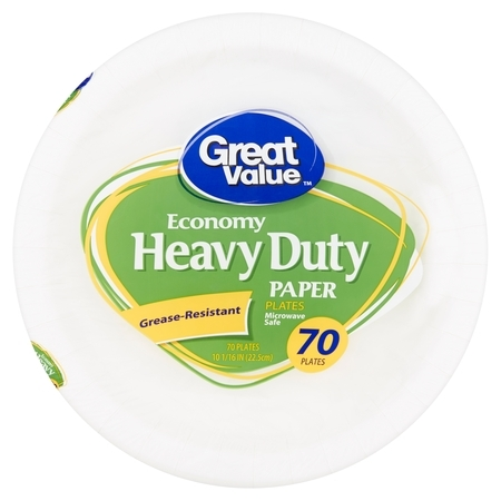 Great Value Economy Heavy Duty Paper Plates, 70 count - High Quality Paper Plates