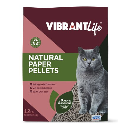 Vibrant Life Natural Paper Pellets Cat Litter, Unscented, 12 -