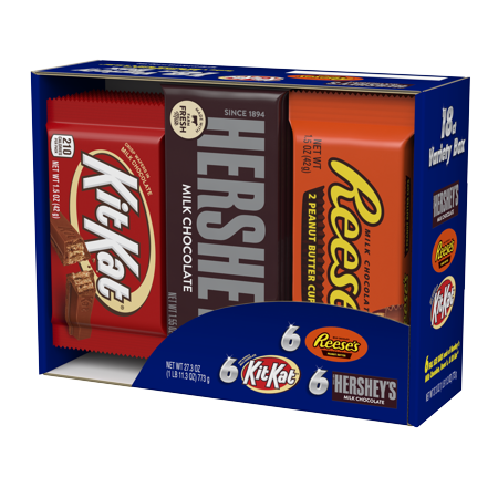 Hershey's full-size bars variety candy pack, 18 count - Halloween Candy Store