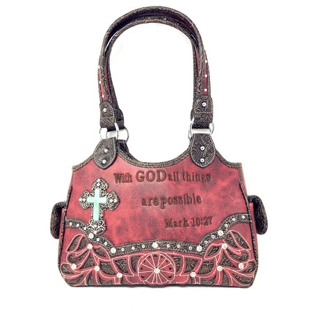 Texas West Concealed Carry Shoulder Handbag Western Purse With Rhinestone Cross In Multi Collections Color And Carry Messenger Bag