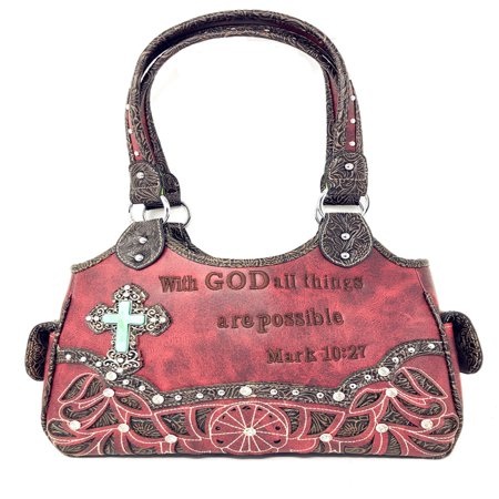 Texas West Concealed Carry Shoulder Handbag Western Purse With Rhinestone Cross In Multi Collections Brown Italian Leather Handbag