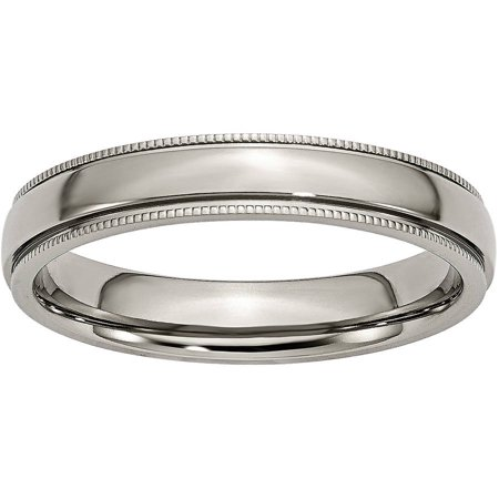 Titanium Grooved and Beaded Edge 4mm Polished Band ()