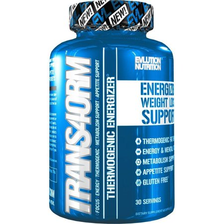 Evlution Nutrition Trans4orm Thermogenic Energizing Fat Burner Weight Loss Pills, Energy and Intense Focus, 30 Servings