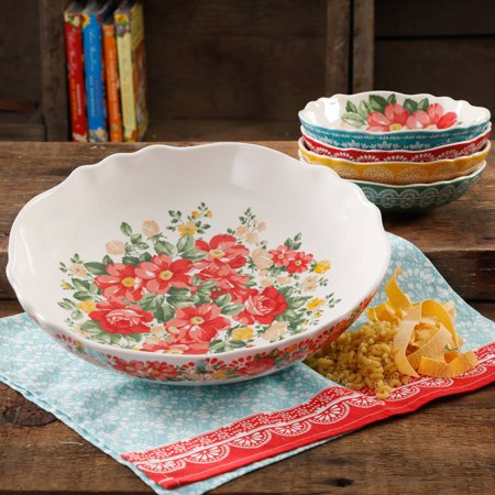 The Pioneer Woman Vintage Floral 5-Piece Pasta Bowl Set (Endless Pasta Bowl)