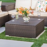 Faviola Outdoor Wicker Coffee Table with Storage, Multibrown