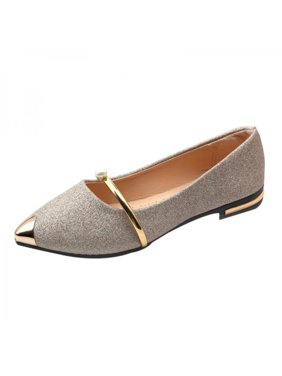 Ropalia Women Flat Shoes Low Heel Shallow Pointed Toe Low-bottom Casual Frosted Shoes Office Shoes