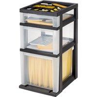 IRIS 3-Drawer File Storage Cart with Organizer Top, Black