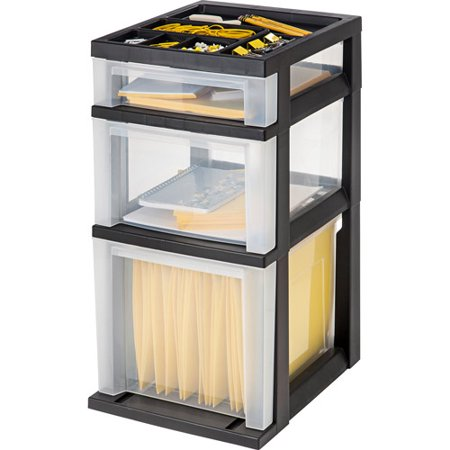 3 Open Storage - IRIS 3-Drawer File Storage Cart with Organizer Top, Black