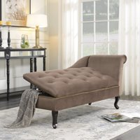Belleze Velveteen Tufted Chaise Lounge Chair Couch for Living Room Nailhead Trim with Storage, Brown