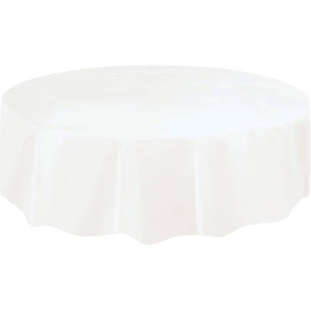 White Plastic Party Tablecloth, Round, 84in (Blue Gingham Tablecloth Plastic)