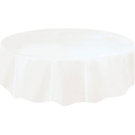 Orange Round Table Cover (White Plastic Party Tablecloth, Round,)