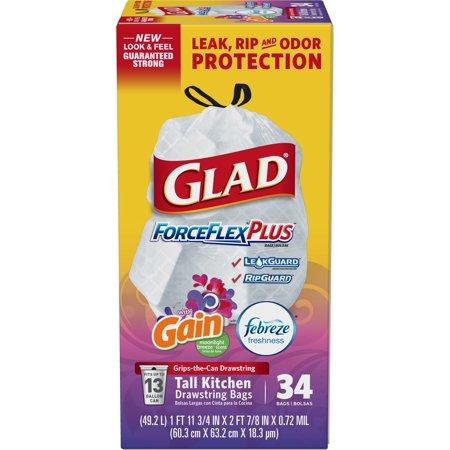 Glad ForceFlexPlus Tall Kitchen Drawstring Trash Bags - Gain Moonlight Breeze with Febreze Freshness - 13 Gallon - 34
