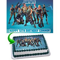 Fortnite Cake Image Personalized Topper Edible Image Cake Topper Personalized Birthday 1/4 Sheet Decoration Party Birthday Sugar Frosting Transfer Fondant Image Edible Image for cake