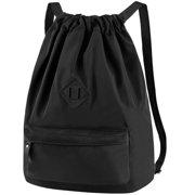 Vbiger Unisex Drawstring Backpack Chic School Shoulders Bag Trendy Drawstring Sackpack Casual Outdoor Daypack, Black