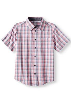 Short Sleeve Stretch Button Up Plaid Shirt (Little Boys, Big Boys, & Husky)