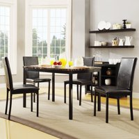 Weston Home Tempe 5-Piece Metal Table with Faux Marble Top Dining Set - Dark Brown
