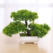 Bonsai Tree In Square Pot Artificial Plant Decoration For Office Home 18cm 7in