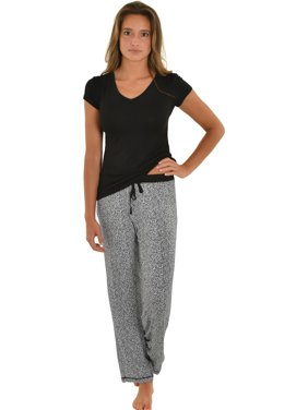 4c0a166dca Product Image Womens Pajama Set Black T-shirt Animal Print PJ Pants 2 Piece  Sleepwear Set