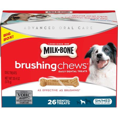 Milk-Bone Brushing Chews For Small/Medium Dogs, - Medium Chocolate Bones