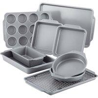Farberware Nonstick Bakeware 10-Piece Set with Cooling Rack, Grey
