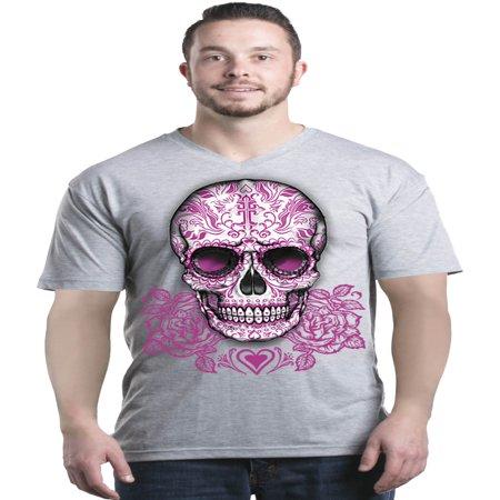Shop4Ever Men's Pink Rose Skull Day of the Dead V-Neck T-Shirt Shirts - Dead Rose