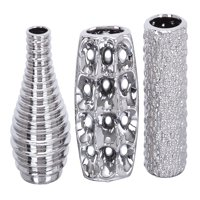 Decmode Set of Three - 8 Inch Decorative Silver Ceramic Vases, Silver