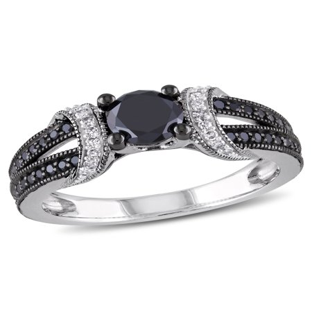 Miabella 1 Carat T.W. Black and White Diamond Fashion Ring in Sterling Silver (5.5mm and (1 Carat Black And White Diamond Ring)