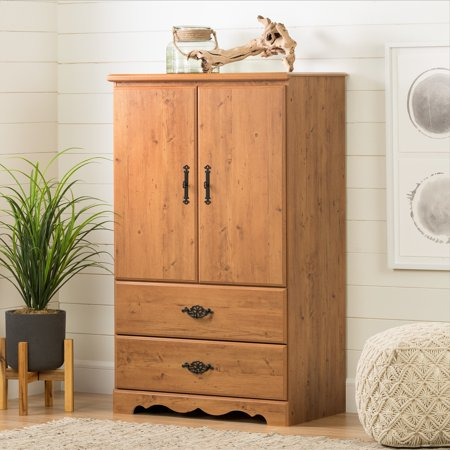 Solid Pine Armoire - South Shore Prairie 2-Door Chest/Armoire, Country Pine