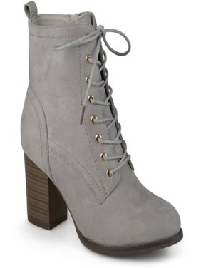 b942d0dcf98f Women s Lace-up Stacked Heel Faux Suede Booties