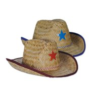 Club Pack of 96 Straw Cowboy Hats with Red and Blue Stars and Chin Strap - 74a08f15a83e