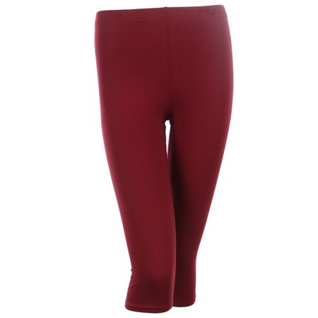 PLUS SIZE Solid Cotton Capri Leggings Plain Pants Capris For Women, Burgundy, 1XL