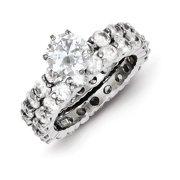 Sterling Silver CZ 2 Piece Wedding Set Ring Size 6