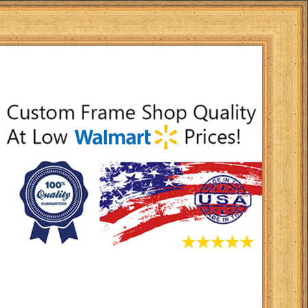 Golden Wood - 20x40 - 20 x 40 Elegant Gold Solid Wood Frame with UV Framer's Acrylic & Foam Board Backing - Great For a Photo, Po